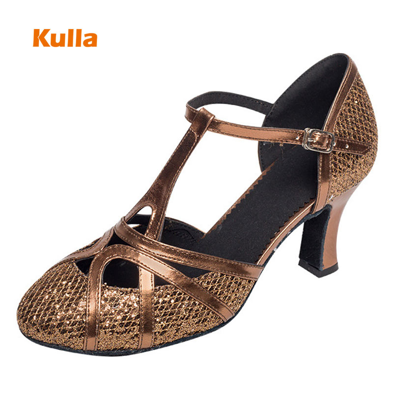 Brown Cross Ballroom Latin Dance Shoes For Women Closed Toe Salsa Party Dance Shoes Hollow Out PU zapatos de baile latino mujer