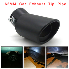 Tuyau d'échappement de voiture universel 62mm en acier inoxydable coude silencieux pointe queue gorge mat noir bricolage accessoires de style de voiture