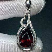 Fine jewelry Pure 18K White Gold 100% Natural Garnet Gemstone 8.5ct Diamonds Female Pendant Necklace for women Pendants