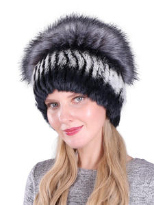 Hats Fox-Fur-Hat Knitted Rabbit-Fur Faux-Silver Fluffy Natural Winter Women Real Wholesale