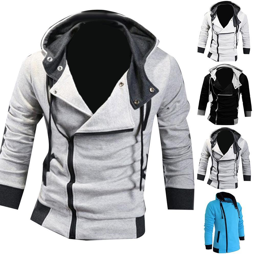Mens Plus Size Sweatshirt Jackets  Autumn Casual Fleece Coats Solid Color Mens Sportswear Stand Collar Sliming Jackets