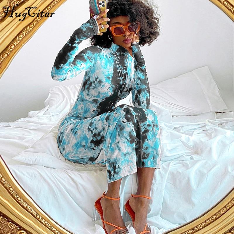 Hugcitar 2020 long sleeve tie dye print bodycon maxi dress autumn winter women fashion streetwear party elegant long outfits
