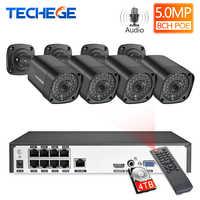 Techege 8CH h.265 5MP 2592x1944 juego de sistema de cámara de seguridad POE Kit de vigilancia impermeable al aire libre Kit de vigilancia PoE Onvif