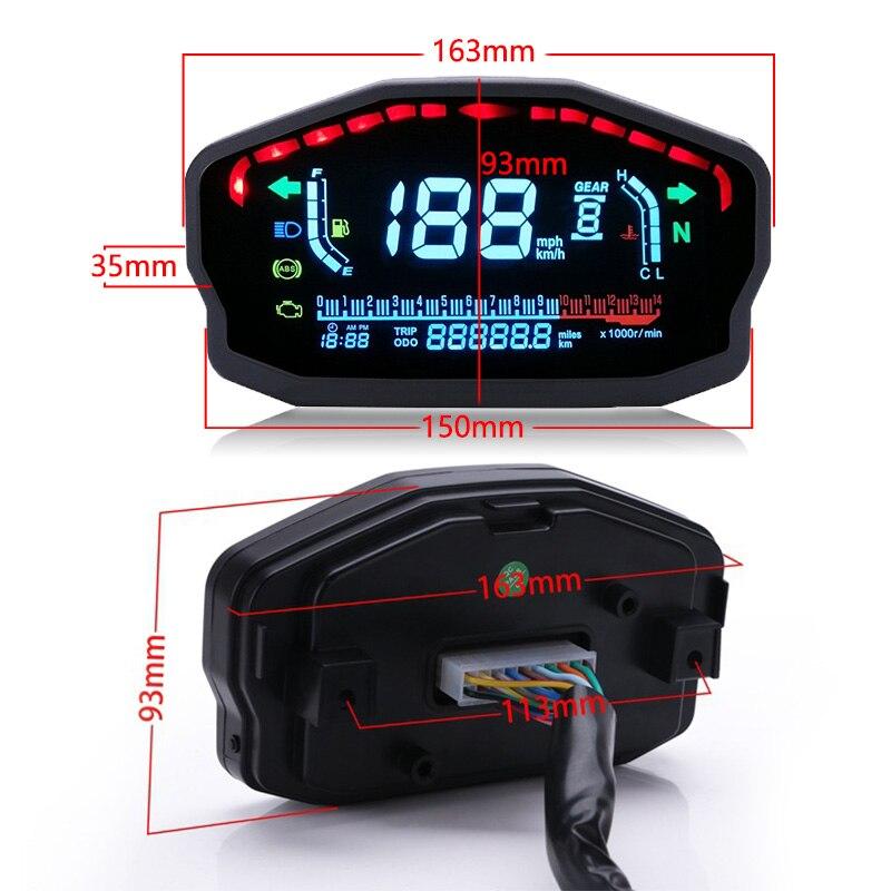 4 2 Motorcycle LCD Digital Speedometer Water Temperature oil Gauge Digital Backlight Odometer For 1,2,4 Cylinders Motor Instrument (4)