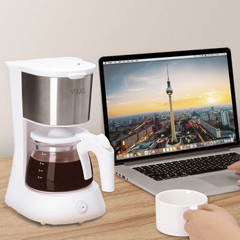220V Home Coffee Machine Household Espresso Maker Large Capacity Glass Kettle Coffee Powder Filter Anti-Drip Insulation Teapot 6