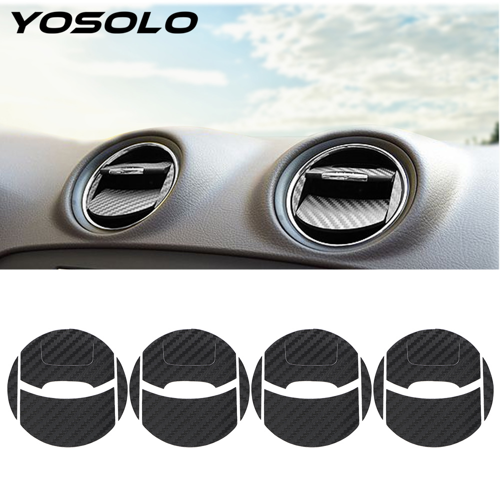 YOSOLO 4PCS/Set Car Air Conditioner Outlet Sticker Carbon FiberFor Ford Mondeo MK3 Protection Decal Decorative Stickers