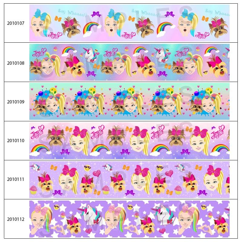 New JOJO Pattern Printed 5 Yards 25mm/38mm/50mm/75mm Grosgrain/Satin Ribbon for DIY Hair Bows Handmade Materials 201010 201011