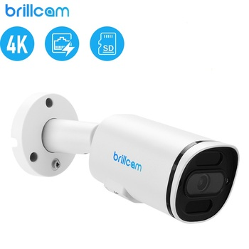 brillcam 4mp hd dual led bullet ip camera with 2 8mm len poe ip67 weatherproof ai sd recording built in microphone security cam Brillcam ip camera outdoor 8MP UHD IR Bullet with 2.8mm PoE IP67 Weatherproof Micro SD Recording Built in Microphone Home Camera