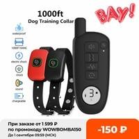 1000ft Palette Hund Ausbildung Kragen Wasserdichte Elektrische Schock Vibration Sound Hunde Rinde Kragen für Small Medium Large Hunde Trainer