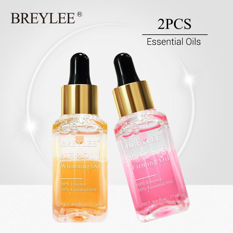 BREYLEE 2PCS Rose Firming Essential Oils Whitening Serum Hyaluronic Acid Moisturizer Essence Anti-Aging Wrinkles Face Skin Care