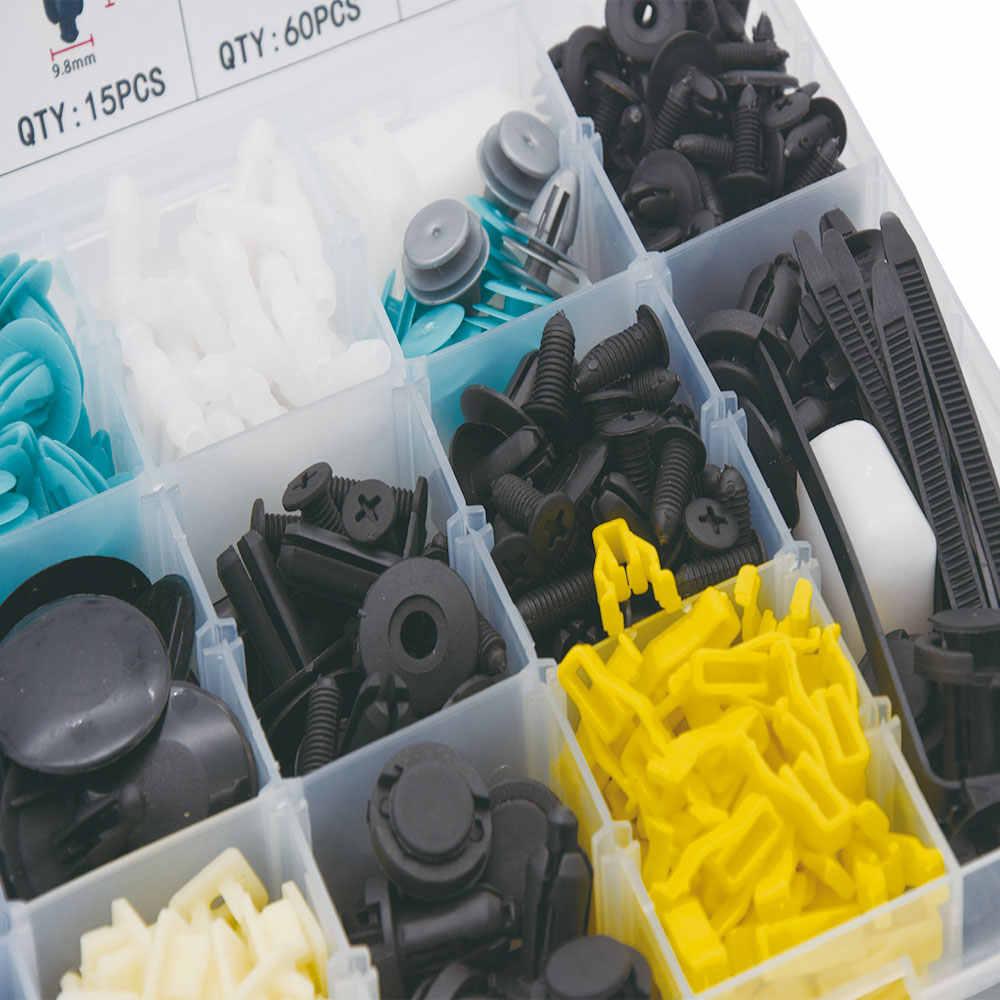730 sztuk pinezka klip plastikowe nity samochodowe akcesoria wewnętrzne uniwersalne klipsy łączniki do toyota corolla zderzak US warehouse
