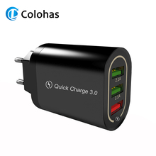 18W USB Quick Charge 3.0 EU US Plug 3 Ports Mobile Phone Fast Charging Adapter QC 3.0 For iphone 7 8 Samsung s8 s9 Huawei Xiaomi 3 usb quick charge 3 0 5v 3a eu us for iphone 7 8 eu us plug mobile phone fast charger charging for samsug s8 s9 xiaomi note 7