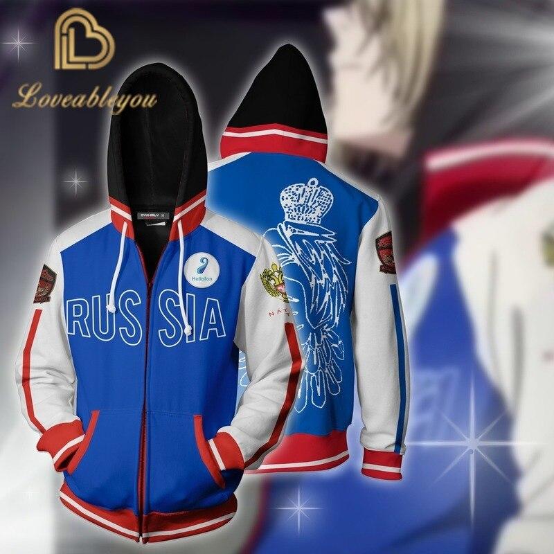 Youri!!! Sur glace Cosplay Costume russie sweat à capuche de Cosplay Zip unisexe à capuche veste 3D imprimé manteau vêtements de sport sweats