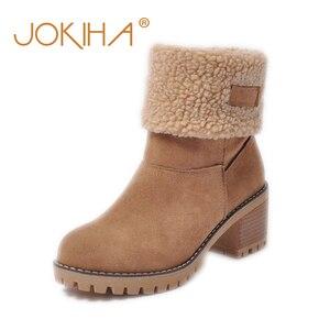 Image 1 - 저렴한 판매 2019 겨울 여성 패션 발목 부츠 플록 하이힐 짧은 부츠 숙녀 빅 사이즈 43 여성 Botas 모피 따뜻한 신발