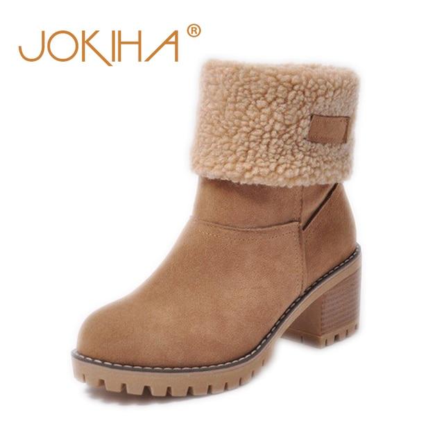 저렴한 판매 2019 겨울 여성 패션 발목 부츠 플록 하이힐 짧은 부츠 숙녀 빅 사이즈 43 여성 Botas 모피 따뜻한 신발