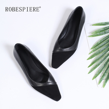 ROBESPIERE 2019 Women's Casual Flats Shallow Mouth Pointed Toe Female Boat Shoes Soft Genuine Leather Slip On Loafers Shoes A85 robespiere women pointed toe flats natural leather mixed colors ladies boat shoes 2019 autumn new slip on large size shoes a103