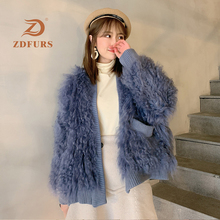 ZDFURS *2019 New Lamb Fur Jackets Women V Collar Loose Imported Wool Woven Integrated Silhouette Coat Winter Warm Pockets