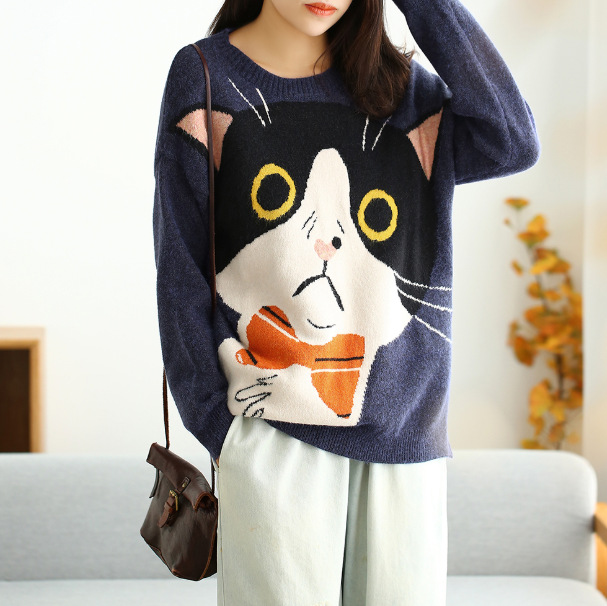 Autumn Winter Sweater Women Fashion Loose Knitting Pullovers Tops New O-Neck Character Kitten Casual All-match Sweater 2019
