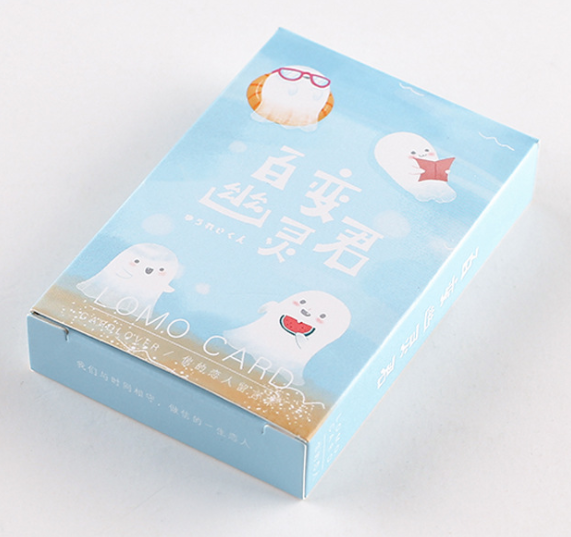 52mm*80mm Happy White Paper Greeting Card Lomo Card(1pack=28pieces)