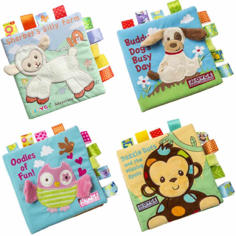 Libros educativos de tela para niños con diseño de mono/búho/perro, juguetes para bebés recién nacidos, juguete de sonajeros para libros de tela para bebés