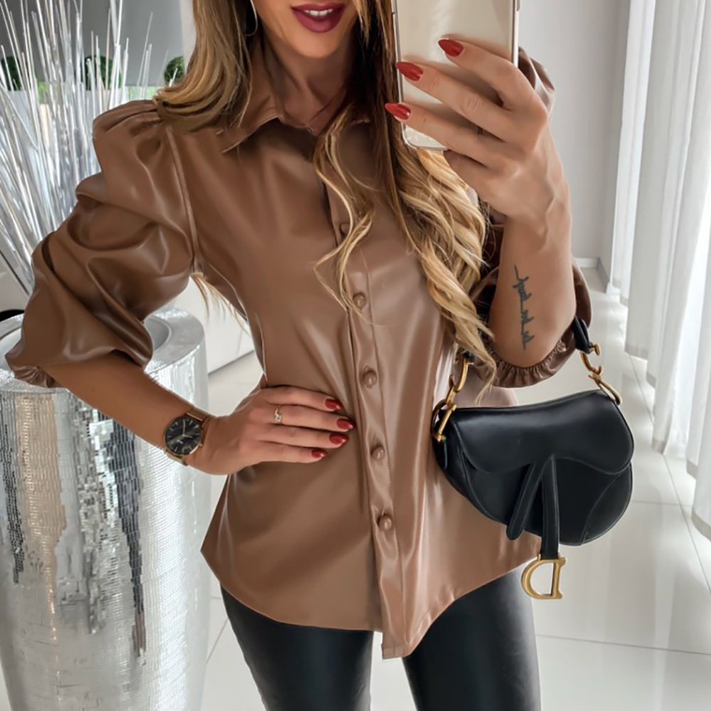 Autumn Leather Blouse Women Puff Sleeve Vintage Shirt Ladies Winter Casual Single Breasted Turn-down Collar Long Sleeve Tops D30