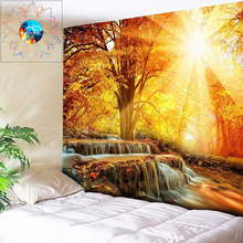 Sunshine Waterfall Tapestry Forest Wall Hanging Sun Boho Hippie Psychedelic Mandala Dorm Decor Cloth