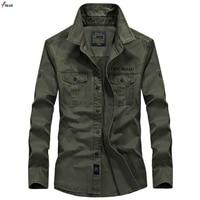 New 2019 Men Shirts Cotton Military Shirt Khaki Casual Slim Fit with Pocket Long Sleeve Vintage Jacket Streetwear Plus Size 4XL