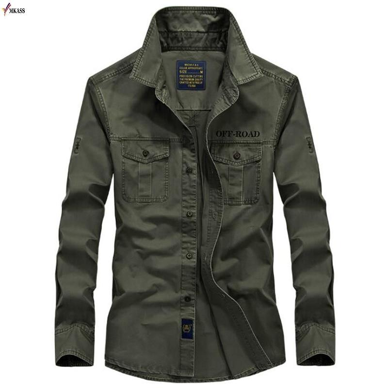 New 2020 Men Shirts Cotton Military Shirt Khaki Casual Slim Fit with Pocket Long Sleeve Vintage Jacket Streetwear Plus Size 4XL