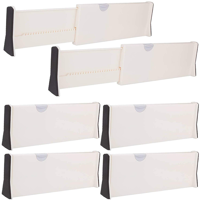 Adjustable Drawer Dividers - 17 inch Expandable Drawer Organizers Set Plastic Drawer Separator Suitable for Kitchen Bathroom Bed