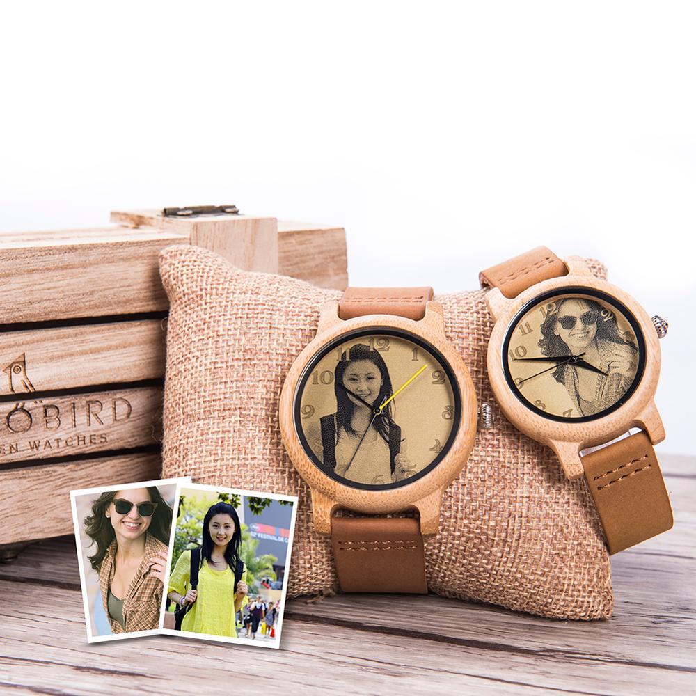 Часы BOBO BIRD для пар, лазерные наручные часы с ремешком из натуральной кожи, с фотографией, на заказ, уникальный подарок на день Святого Валентина