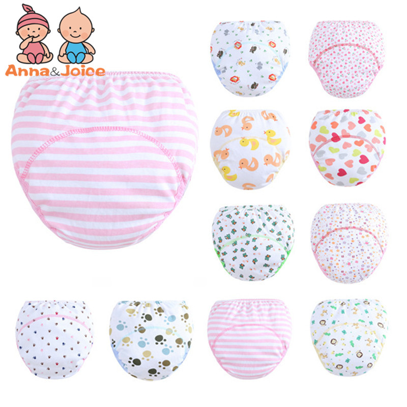 2Pc/lot 3 Layers Cute Baby Training Pants/ Learning Panties/ Infant Shorts Boy Girl Diapers Cotton Nappies Underwear