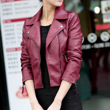 Moto Women Jacket Long Sleeve Short PU Veste Femme Ladies Leather Jacket Coat Outerwear Rivet Zipper Biker Autumn Jacket Women(China)