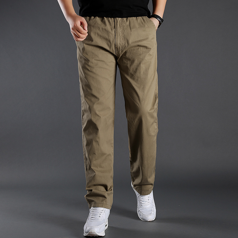 L-6XL Cotton Cargo Pants Men Pocket Out Door Full Length Pants Male Simple Black Straight Trousers Homme Loose Thin Casual Pants