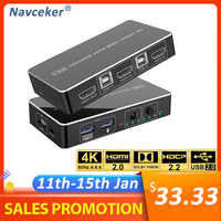 Navceker HDMI KVM interruptor 2 puerto 4K de interruptor USB KVM conmutador HDMI Splitter Box para compartir impresora teclado ratón KVM interruptor HDMI