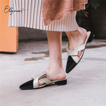 OllyMurs New Fashion Retro Spring Summer Shoes Woman Slippers Pointed Toe Butterfly-knot Women Shoes Slippers Mules Shoes Woman