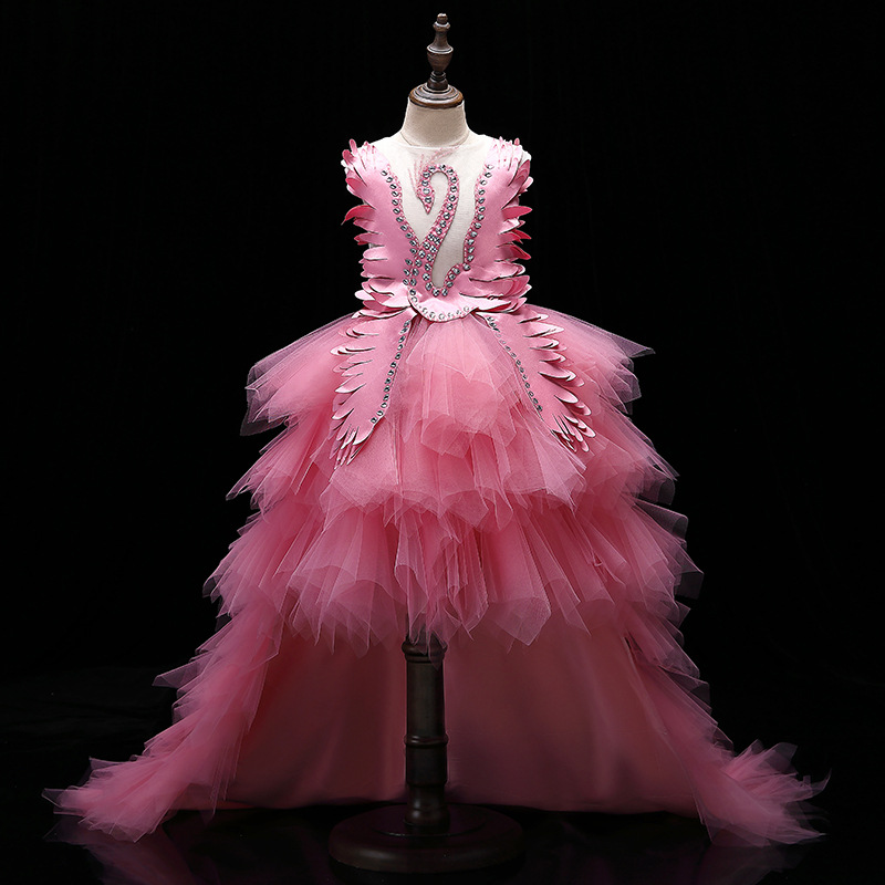 Flower Girl Princess Dress Children Wedding Bridemaid Mermaid Dresses Kids Pink Tutu Gowns Girls Party Wear Pageant Long Frocks