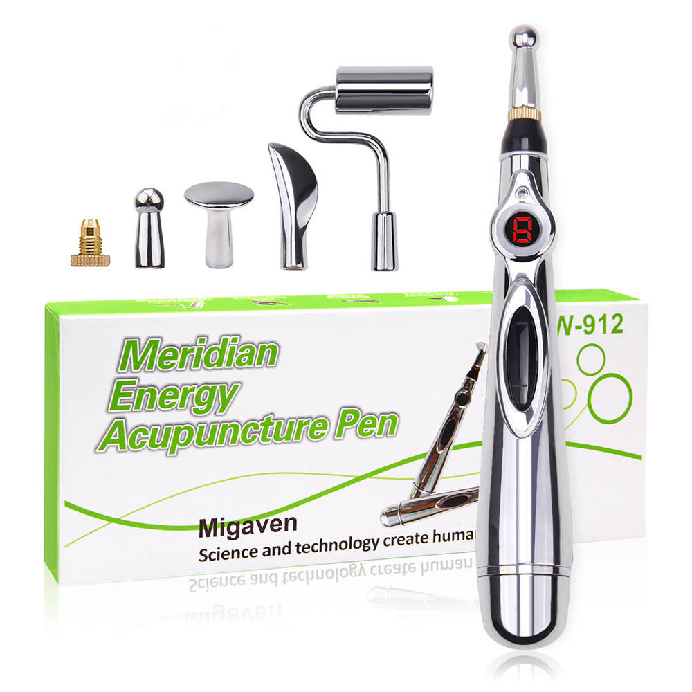 Acupuncture Pen Electronic Acupuncture Meridian Therapy Machine Energy Pens Massager Relief Pain Tools Set With 5 Massage Heads