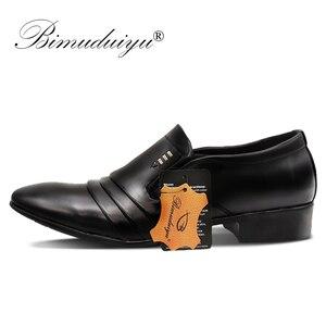 Image 5 - BIMUDUIYU marque PU cuir mode hommes robe daffaires mocassins pointus noir chaussures Oxford respirant formel chaussures de mariage