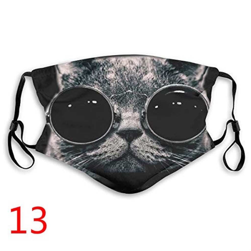 1PC Unisex Washable Mask Print Mouth Mask Cute Furry Cat Pattern Mouth Washed Reusable Face Masks mascarilla