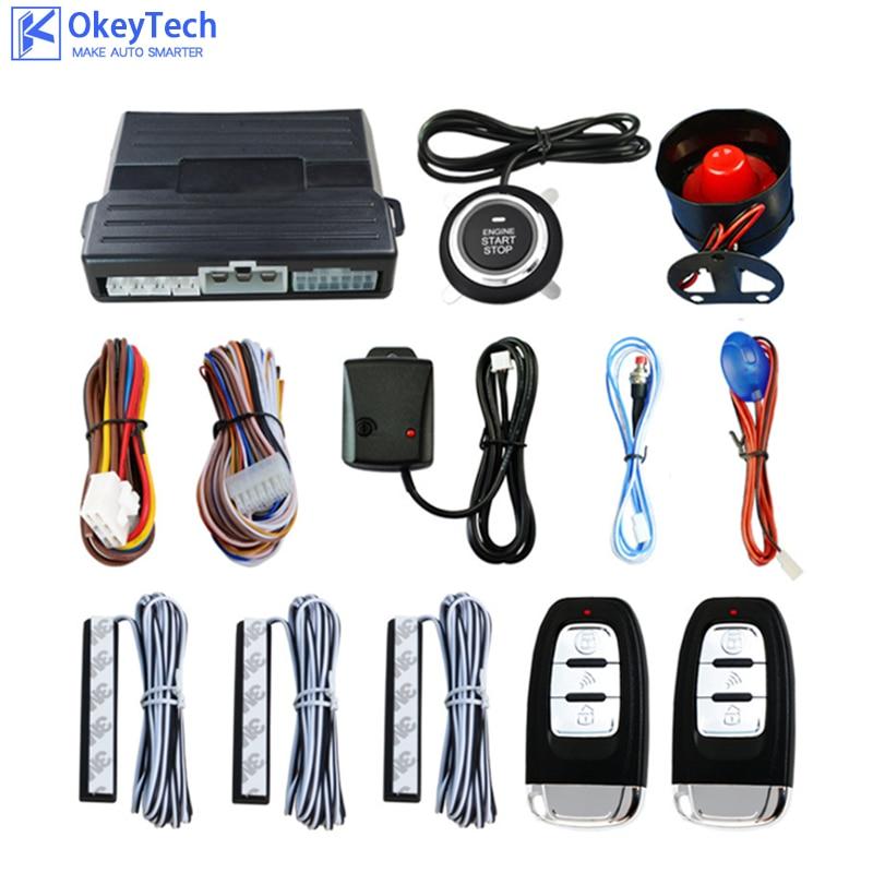 OkeyTech Car Alarm Smart Remote Key Keyless Entry Cars System Lock Car Engine Start Push Button Door Ignition Lock Locking Kit