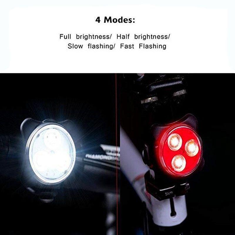 Купить с кэшбэком USB Charging Bicycle Taillight LED Bike Rear Light Bicycle Front Light MTB Road Cycling Flashlight Bicycle Light Kit 4 Modes, Wh