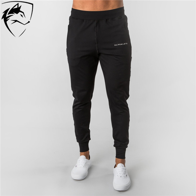 ALPHALETE Brand Men Cotton Jogger Sweatpants Gyms Fitness Bodybuilding Trousers Male Brand Workout Clothing Casual  Slim Pants