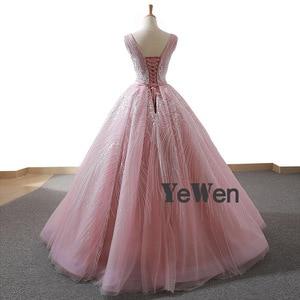 Image 2 - YENWEN מדהים ערב שמלות 2020 פורמליות O צוואר שמלה לנשף כדור שמלת אימפריה שרוולים מסיבת Dressabiti דה cerimonia דה סרה