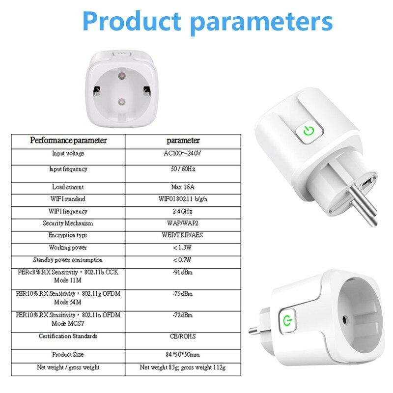 16A Tuya Wifi Smart Plug Draadloze Power Adapter Remote Voice Control Timer Power Energy Monitor Socket Voor Alexa Google Thuis 6