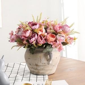 Image 3 - 5 ramo para cabeza de peonías artificiales, peonías pequeñas de seda blanca, flores falsas para fiesta de boda, hogar, flor rosa para decoración, arte rosa