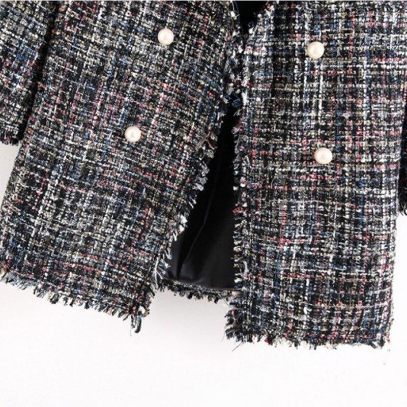 Women Tweed Coat 2019 Autumn Blazer Plaid Long Sleeve Tassel Notched Jacket OL Work Wear Outwear Office Lady Blazers Elegant