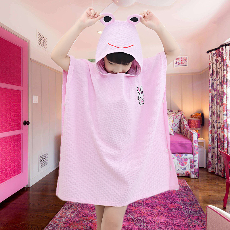 Children 100% Cotton Bath Towel Hooded Cloak Mantle Waffle Cartoon Bathrobe Hooded Bathrobe Baby Yu Pi Spring Summer