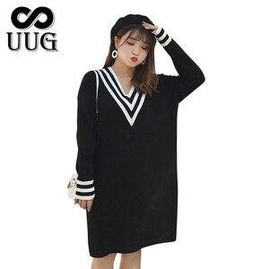 Image 2 - Uug Plus Size Nữ Thẳng Rời Cổ V Thu Đông Tay Dài Đầm Dệt Kim Vestidos XXXL XXL Áo