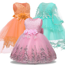 Baby Girl Princess Dresses For Baby Christening Infant Party Dress 1 Year Birthday Dress Wedding Christmas For Newborn Clothing(China)