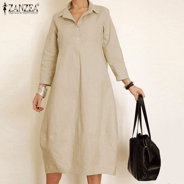ZANZEA Women Long Sleeve Plain Dress Casual Long Shirt Dresses Turn Down Collar Cotton Solid Baggy Vestidos Office Robe Femme